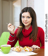 woman having diet lunch at home