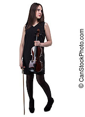 Brunette woman holding fiddle