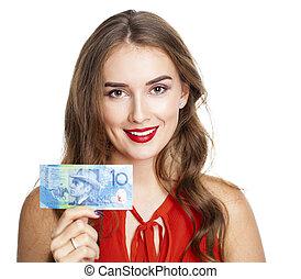 Brunette woman holds 10 Australian dollar Banknote. Isolated...