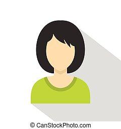 Brunette woman icon, flat style