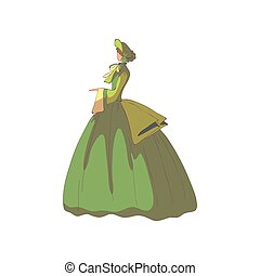 Brunette woman in a green old-fashioned dress and hat....