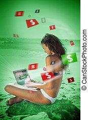 Brunette woman in bikini gambling online in green light