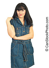 Brunette woman in denim dress