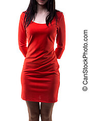 Brunette woman in red Jersey dress