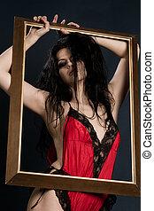 brunette woman in red lingerie