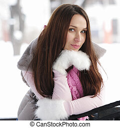 Brunette woman in winter day