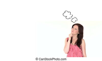 Brunette woman lost in her thoughts - Animation of brunette...