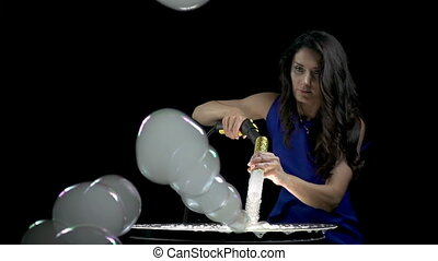 Brunette woman making smoky soap bubbles