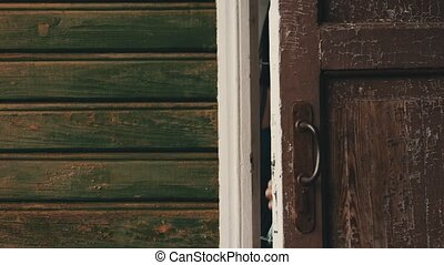Brunette woman open door walk out from country house with...