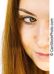 Brunette woman part of face