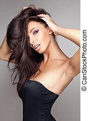 brunette woman  - fashion portrait of brunette woman