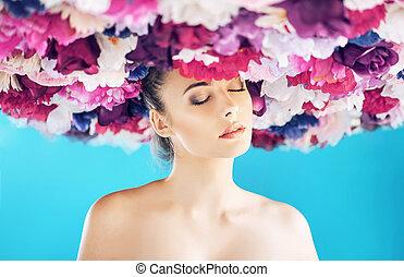 Brunette woman wearing a wreath