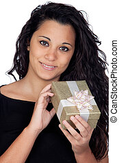 Brunette woman with a gift