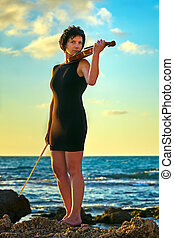 brunette woman with a violin