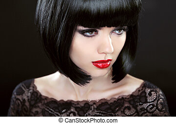 Brunette Woman With Black Short Hair. Haircut. Hairstyle. Fringe