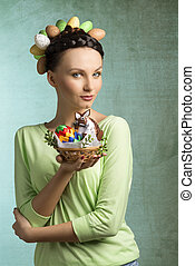 Brunette woman with eggs