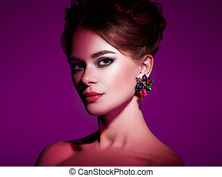 Brunette woman with elegant hairstyle