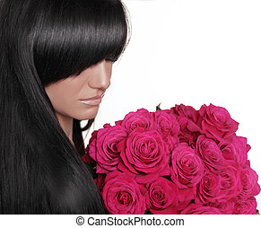 Brunette woman with fringe holding pink bouquet of roses isolated on white background. Long hair style. Hairstyle.