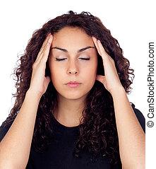 Brunette woman with headache