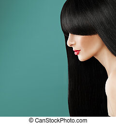Brunette Woman with Long Healthy Hair. Beautiful Model, Perfect Hairstyle