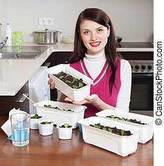brunette woman with sprouts