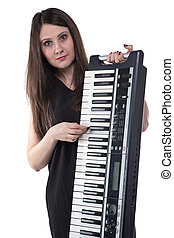 Brunette woman with synthesizer