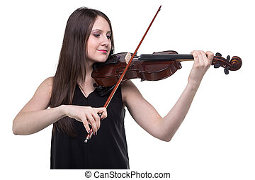 Brunette woman with violin