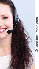 Brunette woman working in a call center