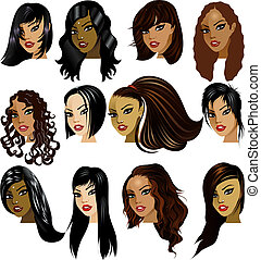 Vector Illustration of Indian, Asian, Oriental, Middle Eastern and Hispanic Women Faces. Great for avatars, makeup, skin tones or hair styles of dark haired women.