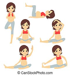 Brunette Yoga Pregnant Woman Poses