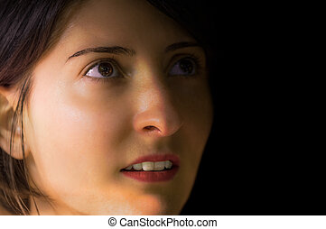 Brunette, young and pretty woman portrait without makeup