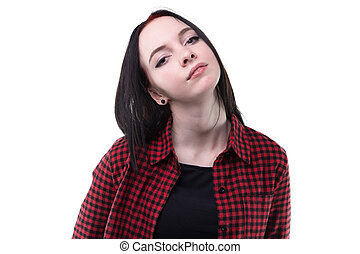 Brunette young woman in plaid shirt