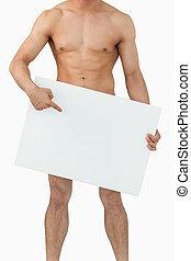 brunnen, geformt, männlicher körper, zeigen, auf, banner,...