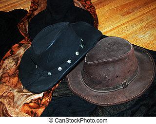 brunnen, hüte, getragen