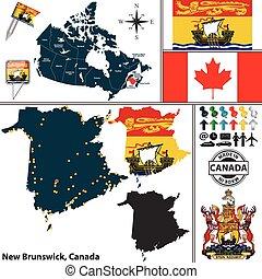 brunswick, carte, canada, nouveau