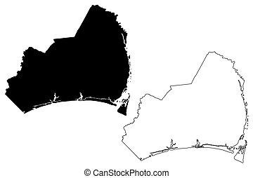 Brunswick County, North Carolina State (U.S. county, United States of America, USA, U.S., US) map vector illustration, scribble sketch Brunswick map