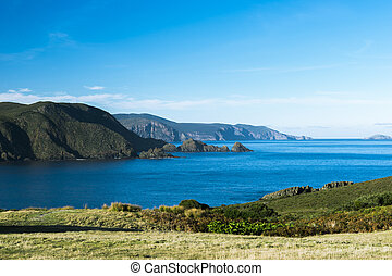 bruny, tarde, vista, afternoon., isla, playa