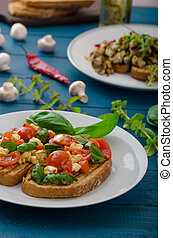 Bruschetta 2 kinds - classic and mushrooms