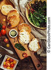bruschetta, aceite, Cereza, hierbas, aceituna, salsa, tomates
