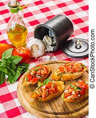 bruschetta, con, ingredienti