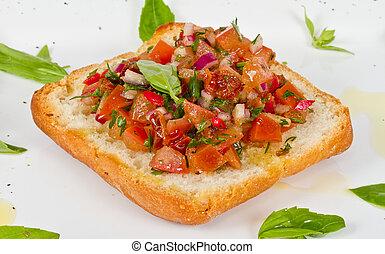 Bruschetta( Italian Toasted Garlic Bread ) with tomato