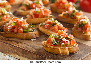 bruschetta, italiano, casero, aperitivo