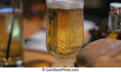 bruschetta, magasabb, étkezési, söröspohár