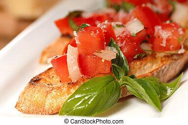 bruschetta, med, tomat, och, basilika