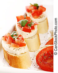 bruschetta over white background - Fresh and tasty...