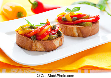 bruschetta, pfeffer, salat, glocke