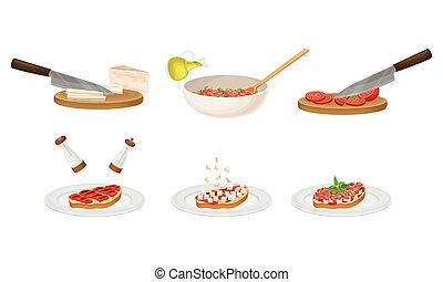 Bruschetta Preparation with Ingredients and Cooking Process Steps Vector Set