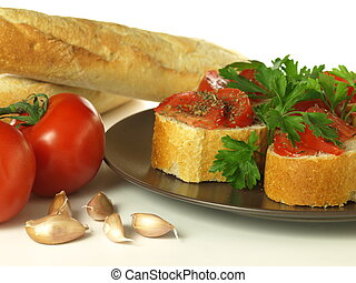 Bruschetta - Crunchy italian snack with baguette and...