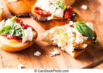 bruschetta, sundried, tomates