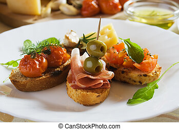 Bruschetta, traditional italian toasted bread
